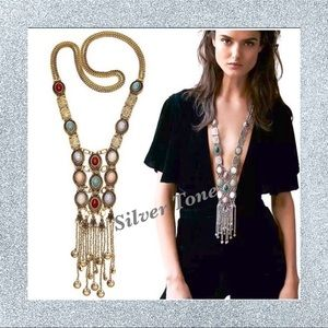 🆕NWT Women's Alloy Silver Boho Fringe Necklace